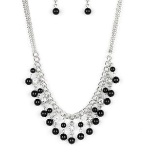 Beautiful black necklace with clear rhinestones